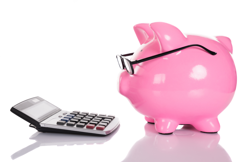 Piggybank,Looking,At,Calculator.,Isolated,On,White