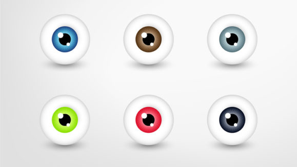 Vector eyes collection, colored eye set