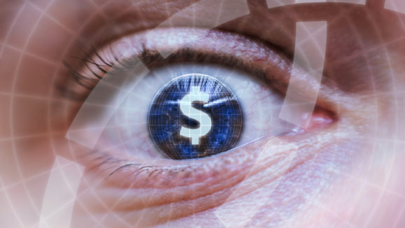 Human eye with dollar or money symbol inside