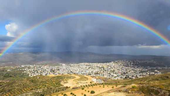 rainbow over Cana of Galilee after rain, Israel