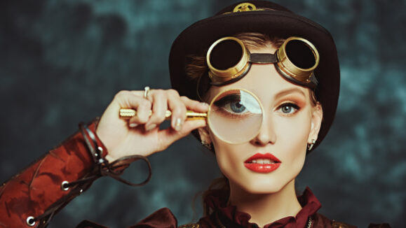 Steampunk,Concept.,Portrait,Of,A,Beautiful,Steampunk,Girl,With,A