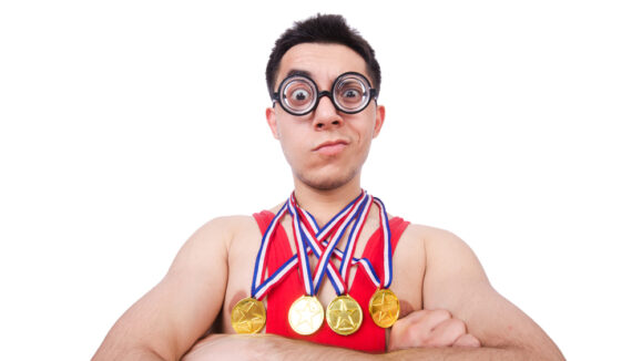 Funny,Wrestler,With,Winners,Gold,Medal